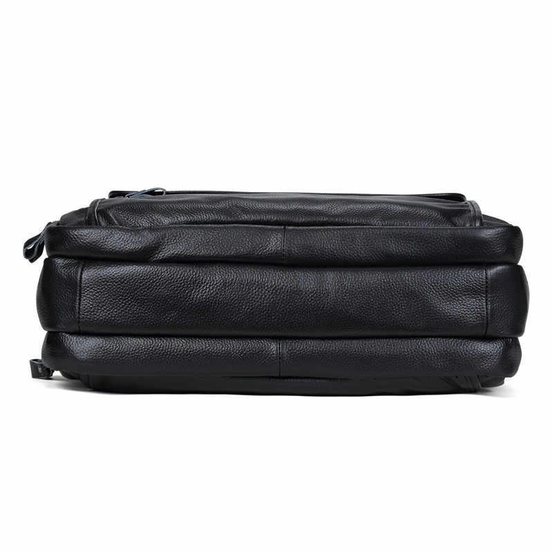 """100% Doğal Inek Deri Erkek Çanta Büyük Hacimli 15 """"Inç laptop çantası Hakiki Deri omuz çantaları 3 Kat Iş Evrak Çantası"""
