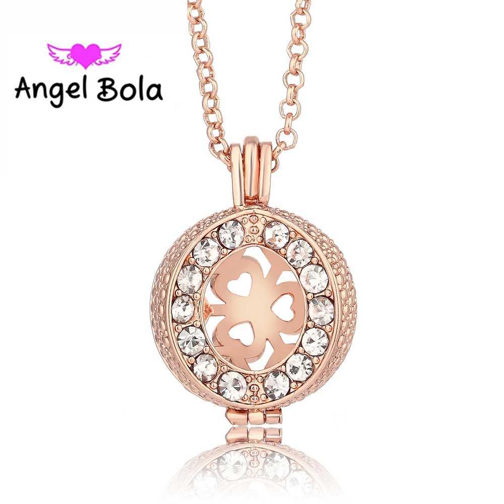 Anioł Bola 5 kolor OLEJEK ETERYCZNY biżuteria sweter łańcuch kryształ klatka wisiorek dźwięk naszyjnik z kulkami dla kobiet w ciąży mama prezent dla dzieci L036