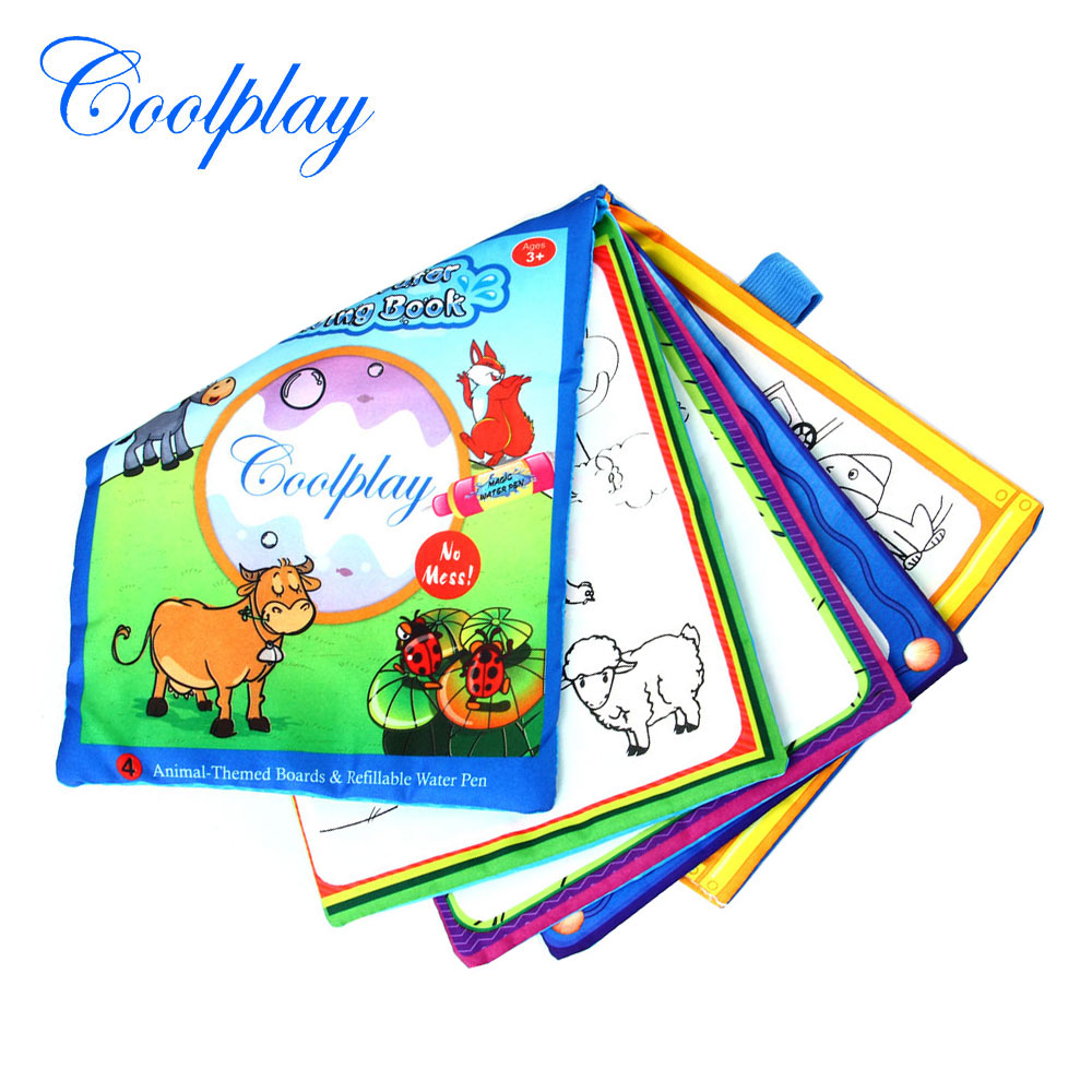 Coolplay Magic Water Drawing Cloth Book with Drawing Pen Reusable Painting Board Coloring Drawing Toys Educational Toys for Kids
