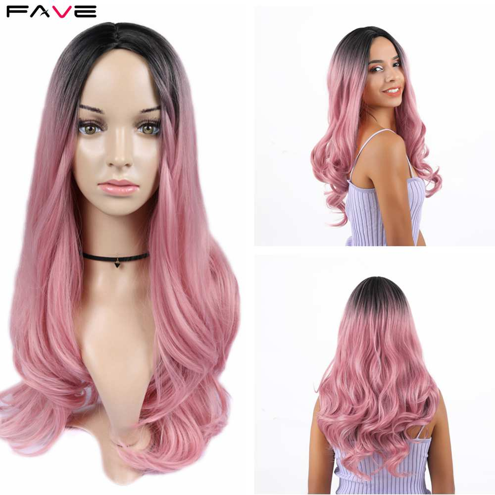 FAVE Premium Long Synthetic Wig Body Wave Ombre Light Brown Color Black Pink Rose Gold Middle Part Wigs For Black Women Cosplay