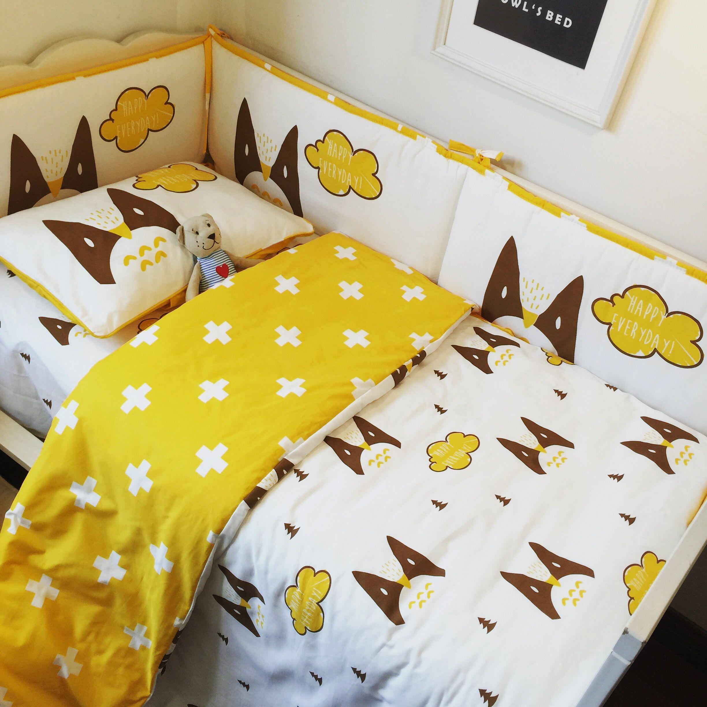 Baby Bedding Sets 3Pcs Cute No Stimulation Cotton Cartoon Pattern Baby Quilt Bed Sheets Pillowcase Bedding Newborn Decorations