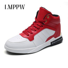 Купить с кэшбэком High Style Men's Vulcanize Shoes White High Top Men Sneakers Genuine Leather Fashion Brand Youth Men Shoes Lace Up Footwear 2.5