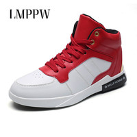 High Style Men's Vulcanize Shoes White High Top Men Sneakers Genuine Leather Fashion Brand Youth Men Shoes Lace Up Footwear 2.5