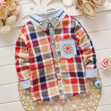 high quality 2016 New Fashion Baby Boys Plaid Long-sleeve Shirt Boy Spring Autumn Cotton Blouse