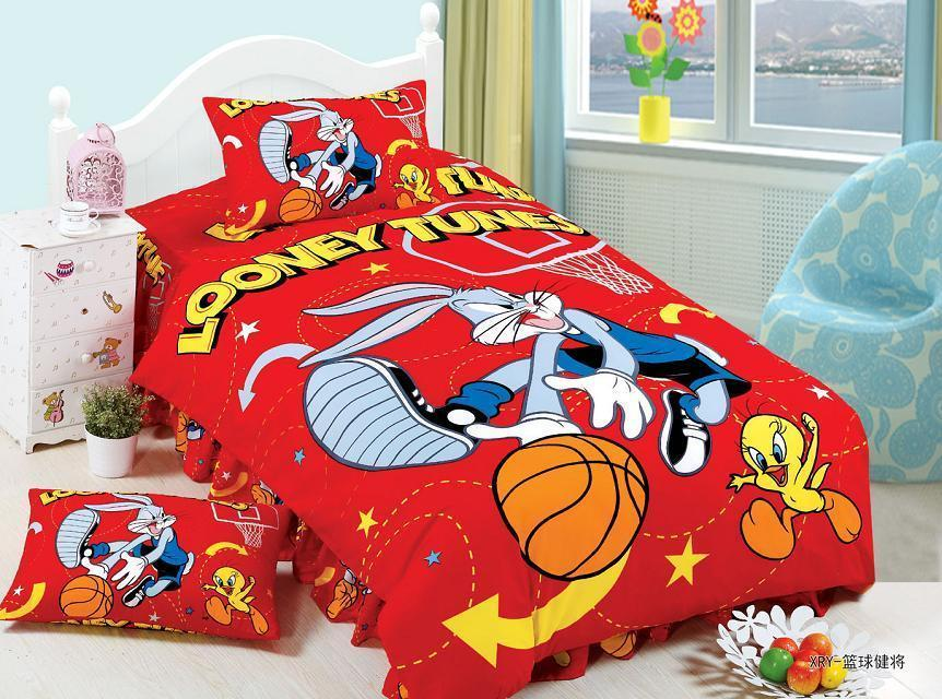 Red Looney Tunes Basketball Printed Bedding Sets Bed Linens Kids Bedclothes Twin Size Quilt Duvet Covers