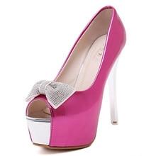 Fashion summer open toe platform high heels bow PARTY sexy wedding shoes 14cm women high heel pumps free shipping #2188-28