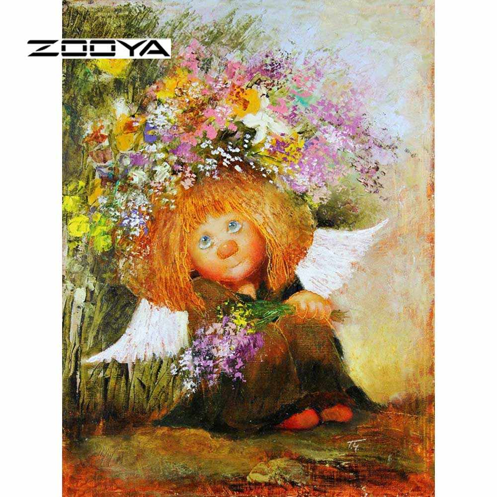 ZOOYA Diamond Painting Angel Diamond Embroidery Full Pack 5D DIY Diamond Mosaic Kits Decor 3D Rhinestones Needlework Gift RF1911