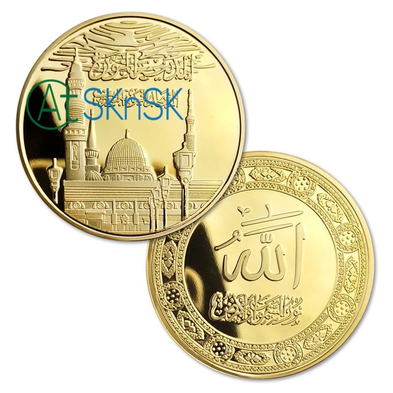 Wholesale 100Pcs Lot 1oz Gold Plated Clad Saudi Arabia Metal Souvenir Coin Comes with Plastic Coins
