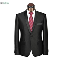 Black Bridegroom Satin Tuxedos Single Breasted Groom Suit+ Vest +Pants For Wedding /Evening Party