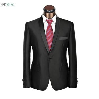 Czarny oblubieniec satynowe smokingi jednoczęściowy garnitur pana młodego + kamizelka + spodnie na wesele wieczorne przyjęcie tanie i dobre opinie BFEGOING Poliester Mieszkanie Custom made Zipper fly Pojedyncze piersi Groom wear REGULAR Satin