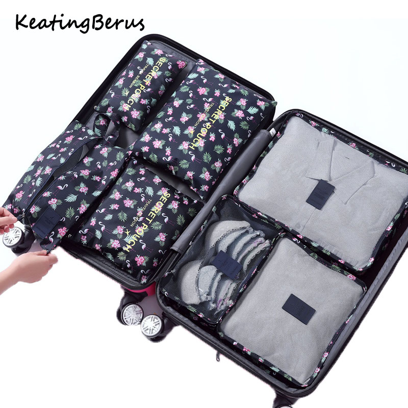 Hot 7Pcs/set Travel Mesh Bag In Bag Trip Clothes Finishing Kit Luggage Organizer Accessories Storage Bag Cosmetic Toiletrie