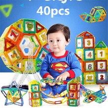 40 PCS/set standard size magnetic building blocks Model Toys Brick designer Enlighten Bricks magnetic No box