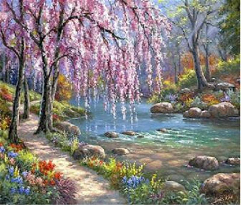 Beautiful 40x50cm Lake Trees Flowers Landscape Printed Diy Digital