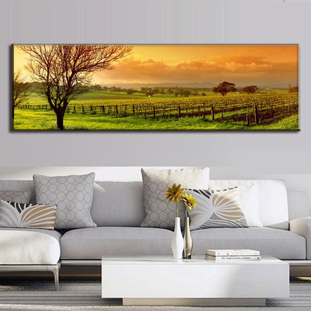 Super large single picture landscape vineyard canvas for Super cheap home decor
