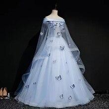 Светло-голубая вуаль с бабочками плащ бальное платье Средневековый Ренессанс платье королевы cos викторианское платье/Антуанетта/бальное платье Белль