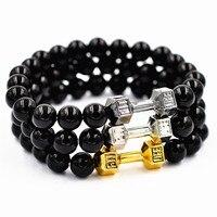 2017 Natural Stone Unisex Lava Tiger Eye Barbell Jewelry Beads Bracelet Women Fitness Fitness Prayer Dumbbell Bracelets for Men