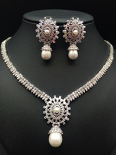 2017 NEW fashion exquisite elegant retro crystal zircon shell pearl necklace,wedding bride party dress dinner jewelry set