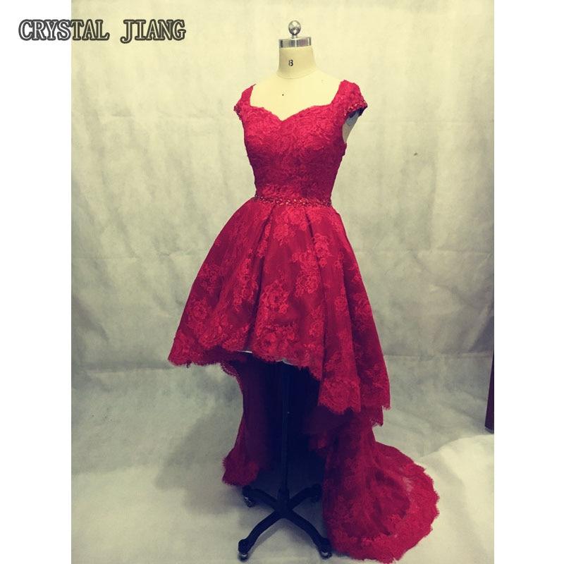 Вино червоні сукні мережива Hi-Lo сукня з капюшоном рукави з бісером формальні сукні нареченої високої якості