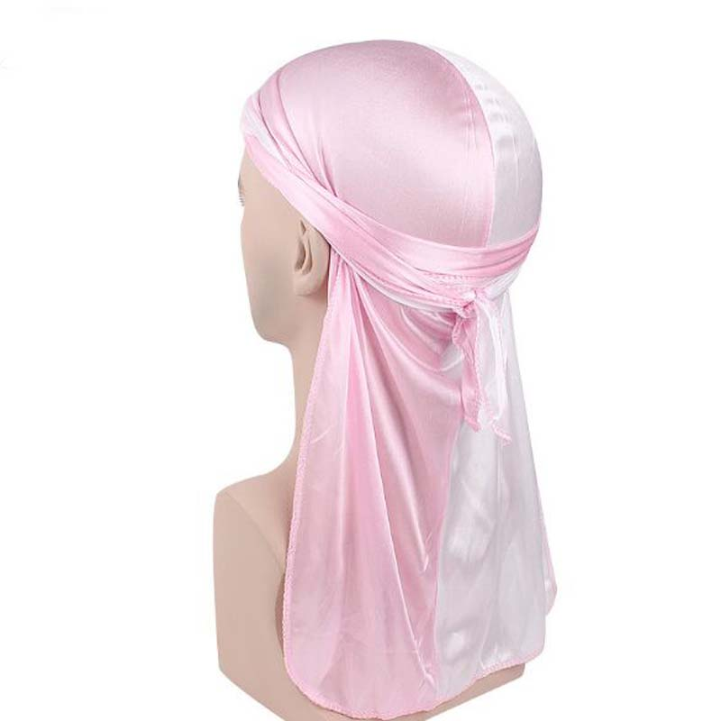New Double Color Emulation Silk Long-tail   Skullies     Beanies   Spring Autumn Brand Silky Durag Pirates Turban Hats For Women Men