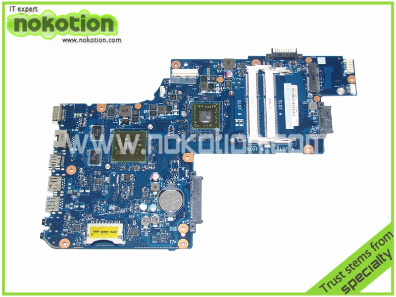 все цены на NOKOTION PT10AN DSC MB REV 2.1 laptop motherboard for toshiba satellite C50 C50D EM2100 CPU AMD 216-0841000 DDR3 Mainboard онлайн