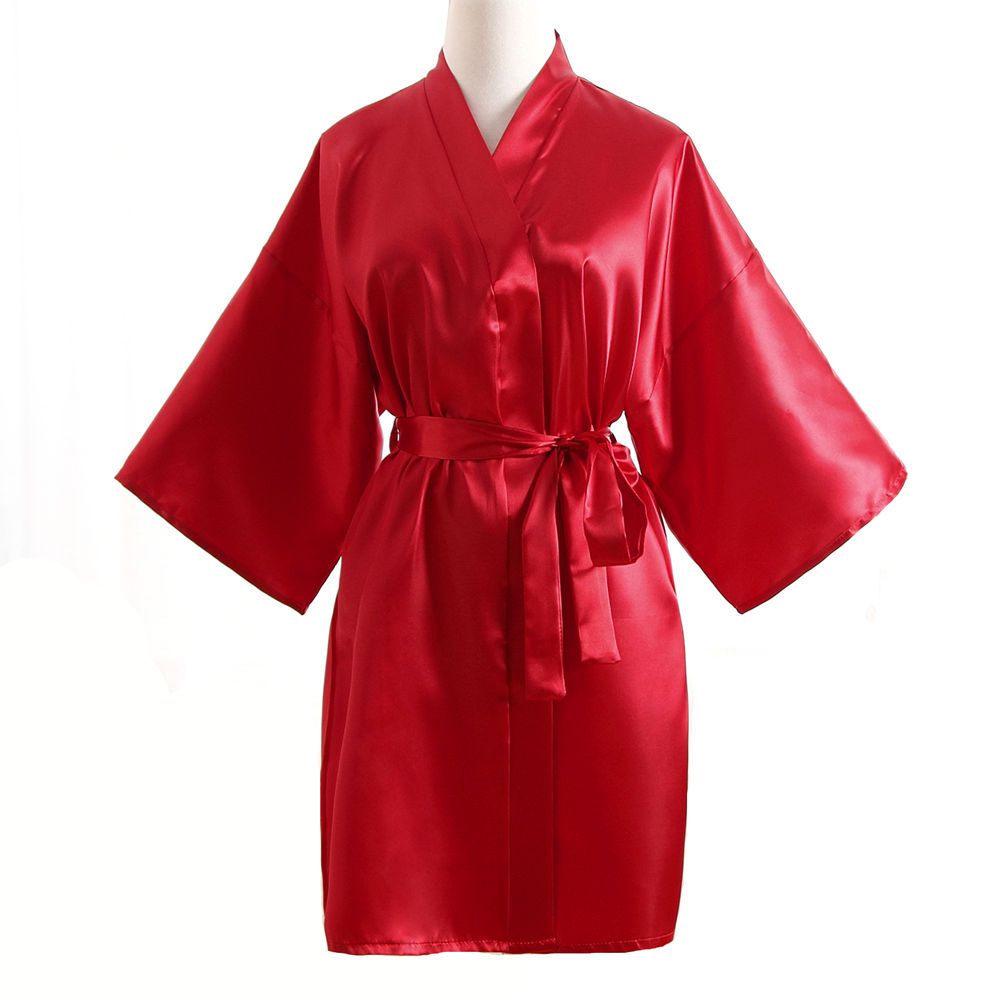 Top Selling Summer Women's Kimono Mini Robe Red Faux Silk Bath Gown Yukata Nightgown Sleepwear Pijama Mujer One Size Mdn001