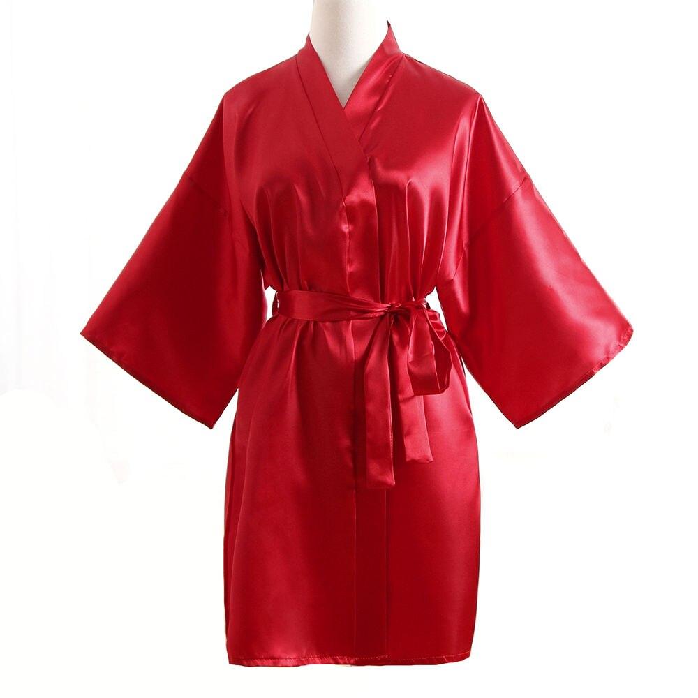 Top vente été kimono pour femme Mini Robe rouge fausse soie Robe de bain Yukata chemise de nuit vêtements de nuit Pijama Mujer taille unique Mdn001