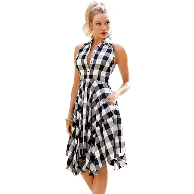 2a18c0b0ab6 Summer Casual Shirt Dress Women Notched Neck Sleeveless Red Plaid Flare  Skater Dresses Robe Vintage Ladies Swing Dress SR096