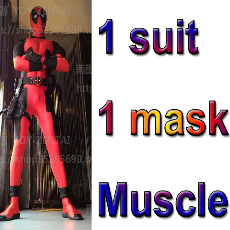 Movie Coser-5 High Quality Custom Made Super Hero Deadpool Suit With Mask Adult Men Halloween Cosplay Costume Muscle Suit