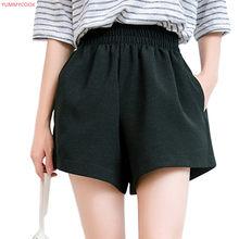 f56f060158 YUMMYCOOK 2019 verano suelto de lino de algodón cómodo pantalones cortos  casuales de mujer de gran tamaño de cintura alta color .