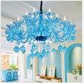 Freies Verschiffen Sky Blue Kristall Kronleuchter Kerzenhalter Lampen Moderne Kristall K9 Kronleuchter Villa Wohnzimmer Hängen Beleuchtung-in Kronleuchter aus Licht & Beleuchtung bei