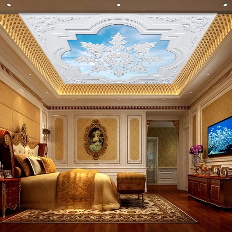 custom 3d ceiling photo Abstract dynamic four ray light 3d ceiling