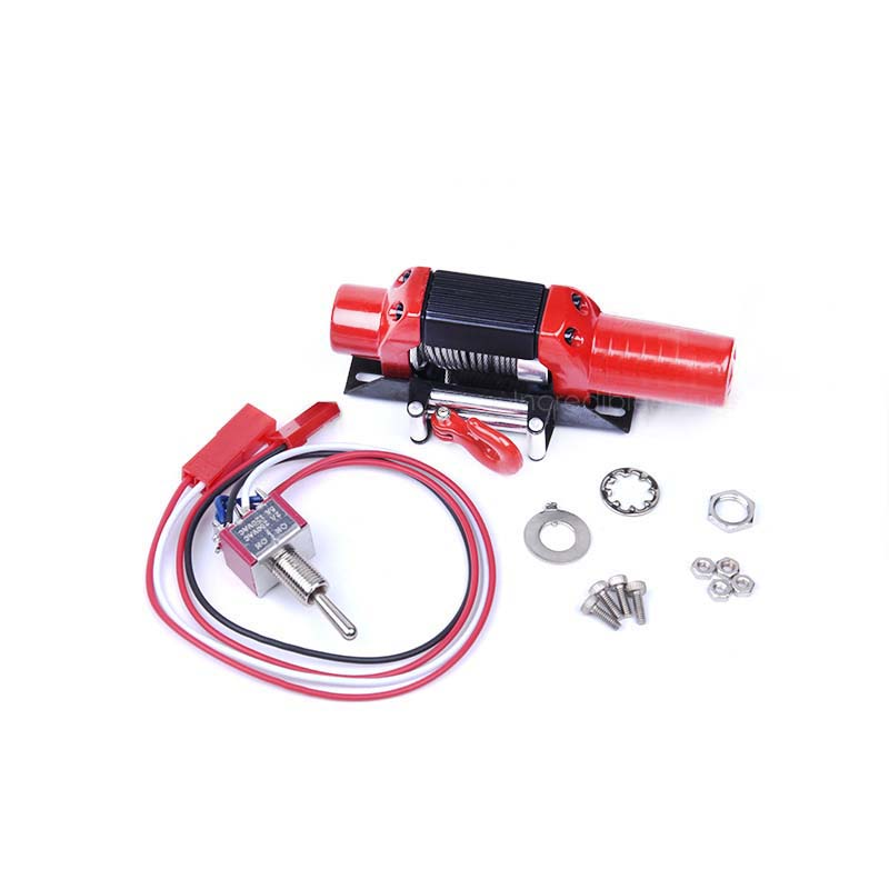 1PCS RC Car Metal Winch 3KG Torque Steel Wire Automatic Winch 28*78 Electric Winches/Capstan for 1:10 Rock Climbing Car Modified