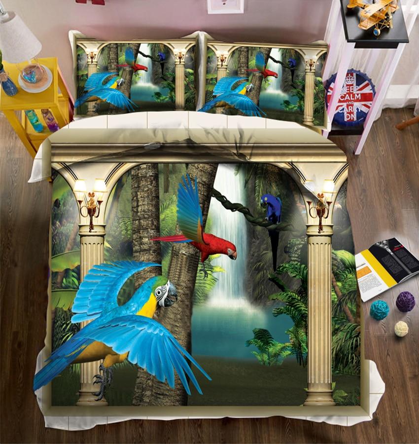 Ensemble de literie 3D pour enfants ensemble de literie double reine complet drap de lit housse de couette taie d'oreiller couverture de lit motif d'oiseau roi de californie