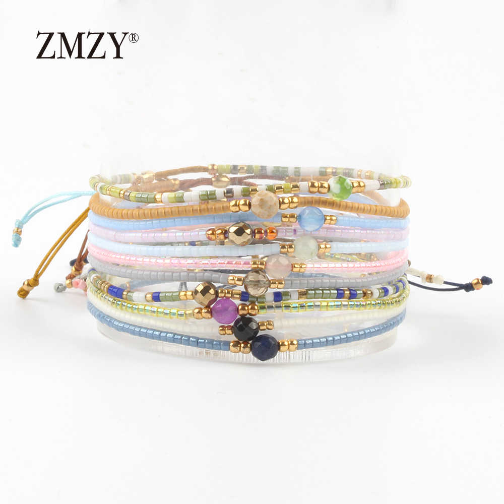 Zmzy Miyuki Delica Manik-manik Biji Wanita Gelang Persahabatan Perhiasan Fashion DIY Bijoux Femme Sederhana Gelang Drop Pengiriman