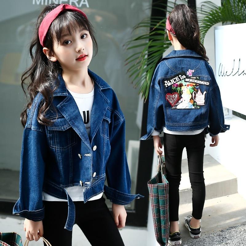 Kids Girls Jackets Designer Denim Style Fashion Blue Jeans Jacket Coats 3-13 Yr