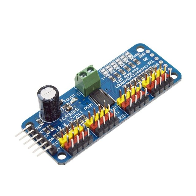 US $1 88 5% OFF|16 Channel 12 bit PWM/Servo Driver I2C interface PCA9685  for Arduino Raspberry Pi DIY Servo Shield Module-in Integrated Circuits  from