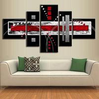 5 Photos/Set bureau décoration cuadros moderne à l'huile abstraite peinture Rouge Noir Gris Résumé AB5001