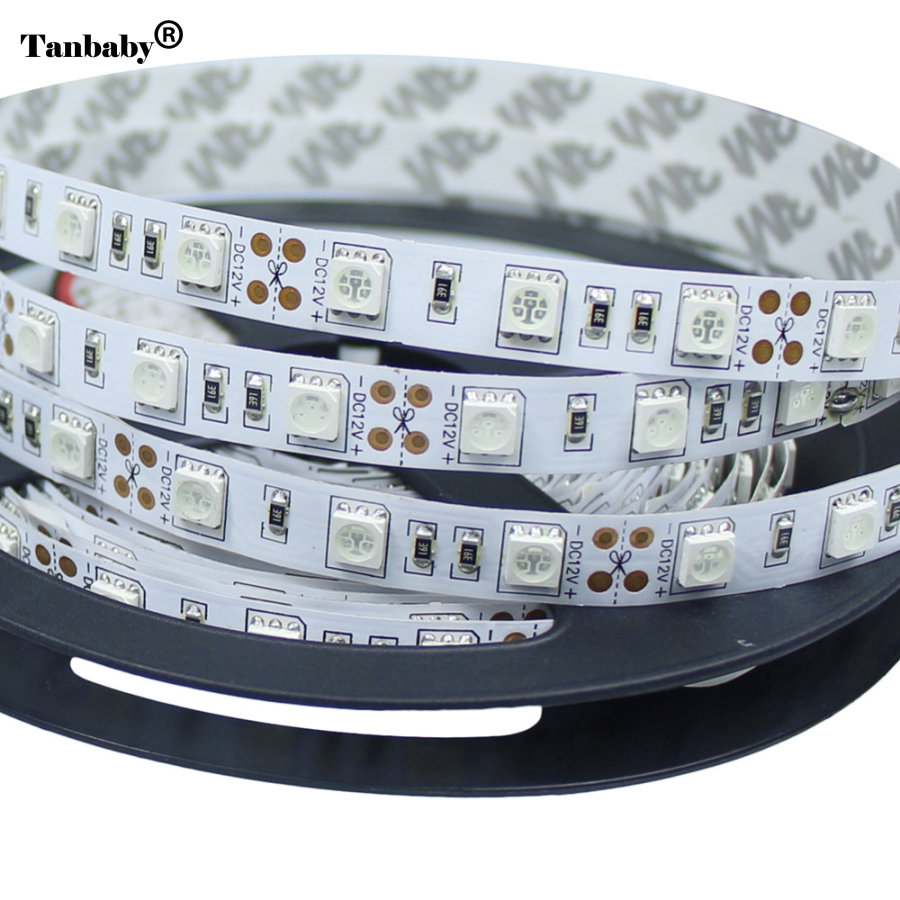 LED Strip SMD 5050 Non-Waterproof DC12V 60LEDs/m 5m/lot Flexible LED Light RGB LED Strip LED Tape Home Decoration Lamps