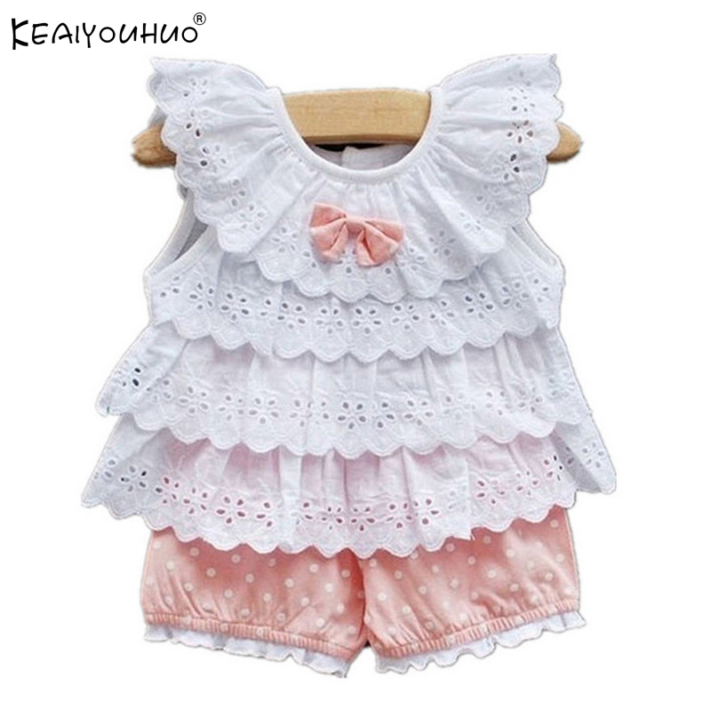 KEAIYOUHUO 2017 Summer Baby Girl Clothes Sets Infant Outfits Suits Girls Lace Two-Piece Suit Girls Clothes Cotton Kids Clothing