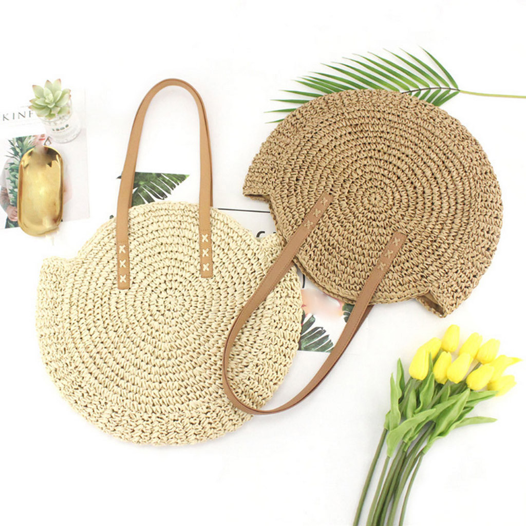 Round Straw Beach Bag Vintage Handmade Woven Shoulder Bag Raffia circle Rattan bags Bohemian Summer Vacation Casual Bags-in Shoulder Bags from Luggage & Bags on Aliexpress.com | Alibaba Group