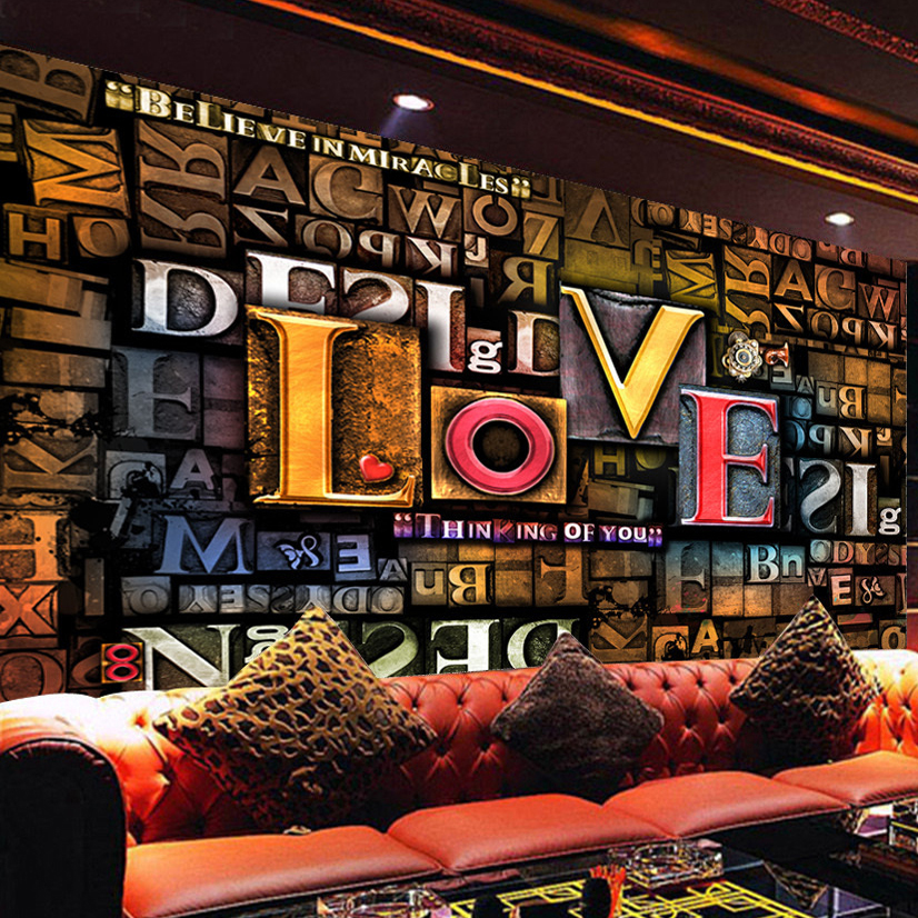 Custom Photo Wall Paper 3D Stereoscopic Embossed Creative Fashion English Letters LOVE Restaurant Cafe Background Mural Decor