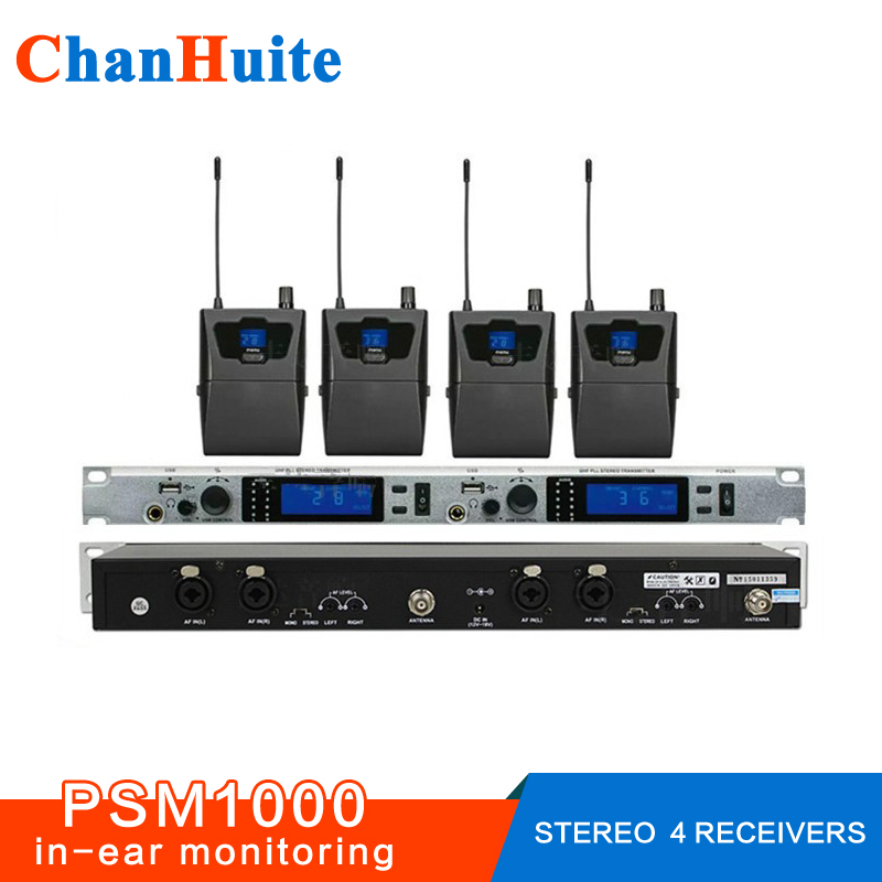 все цены на  Stereo wireless in ear monitor system professional PSM1000 IN-EAR MONITORS COMPLETE FOR 4 USERS, IEM 2 transmitter 4 receivers  онлайн