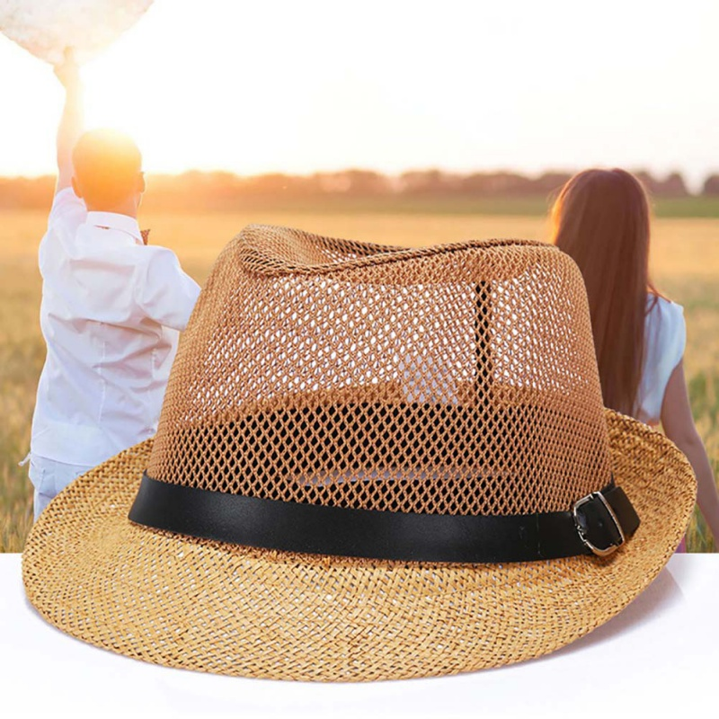 33835bbc 2018 New Good quality Leather Chain decoration Summer Hat Straw Sun Hats  for Men Women Jazz Cap Big brim Sun hats-in Sun Hats from Apparel  Accessories on ...