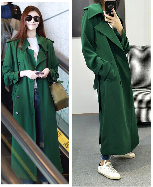 UK Brand New Fashion 2019 Fall /Autumn Casual Double Breasted Simple Classic Long Trench Coat Green Chic Female Windbreaker