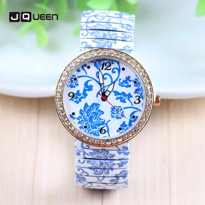 Classic Blue and White Porcelain Men Women Watch Diamond Chinese Printing Resilience Steel Belt Roman Numerals Quartz Wristwatch classic blue and white porcelain garden stools seat