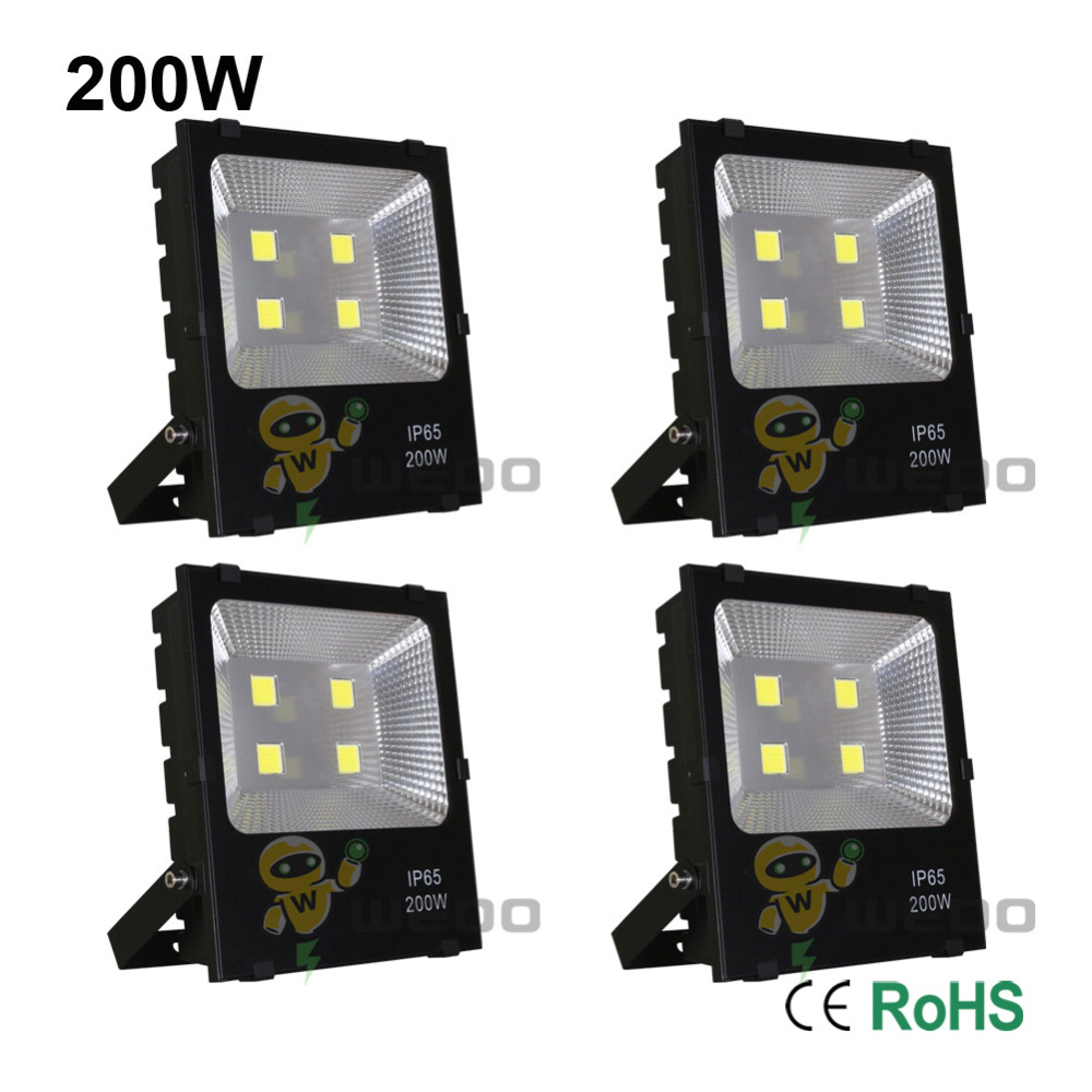 4 PCS 200W LED Flood Light Lamp Super Bright Outdoor Waterproof IP65 Non-Dimmable Cool White/Natural White/Warm White 85-265V