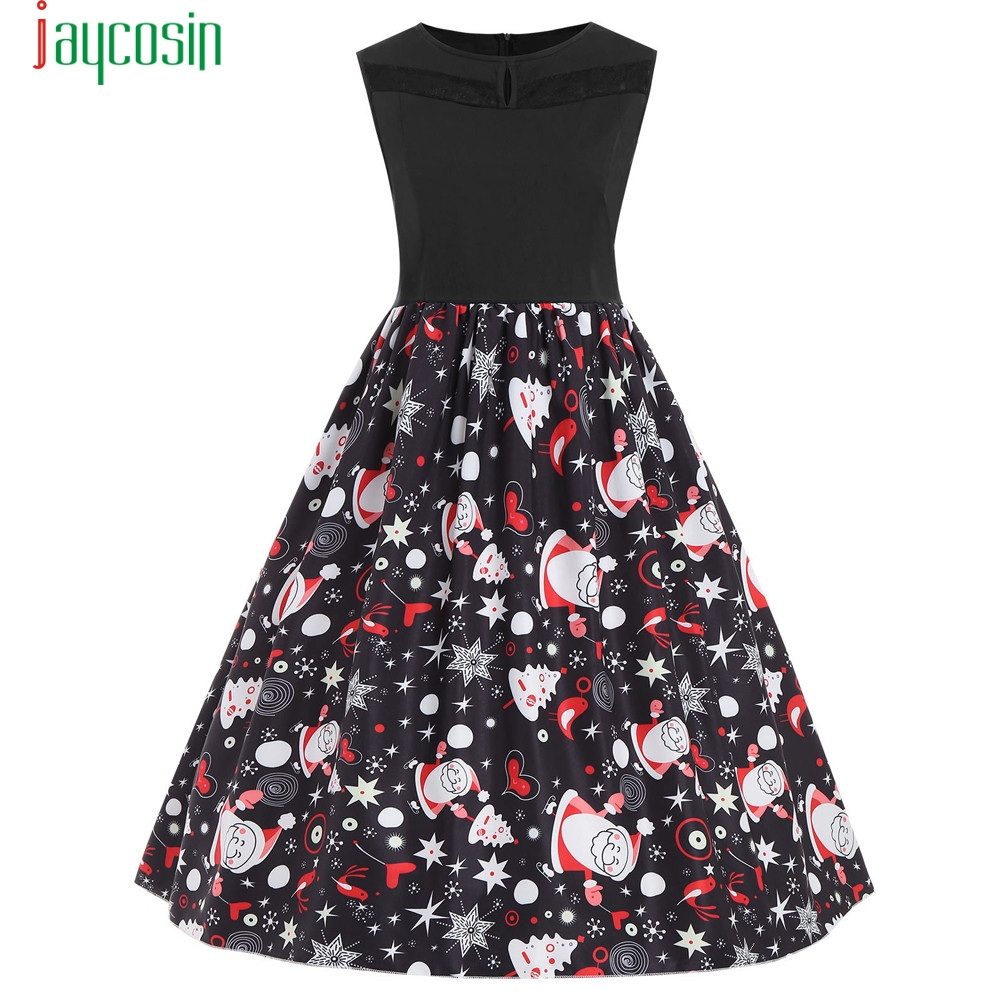 Christmas Swing Dress.Us 11 35 45 Off Black Christmas Sleeveless Dress Women Printed Splicing Evening Prom Costume Swing Dress Christmas Party Dress Plus Size Se0805 In