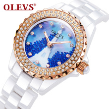Olevs genuine Women watch gold plated Fashion luxurious ladies watch with rhinestone ceramic Waterproof Quartz dress table clock