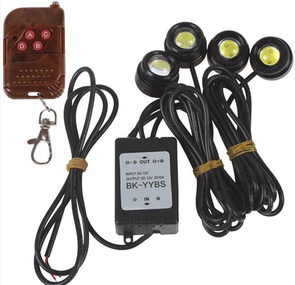 1 set Eagle Eye Strobe Flash 4 pcs High Power 1.5W LED Car Light with Wireless Remote DRL Reversing Backup Tail Light