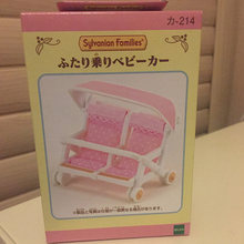 New Arrival 1:12 Genuine Sylvanian Families Miniature Double Baby Doll Stroller Cute Dollhouse Furniture Kids Pretend Toys(China)